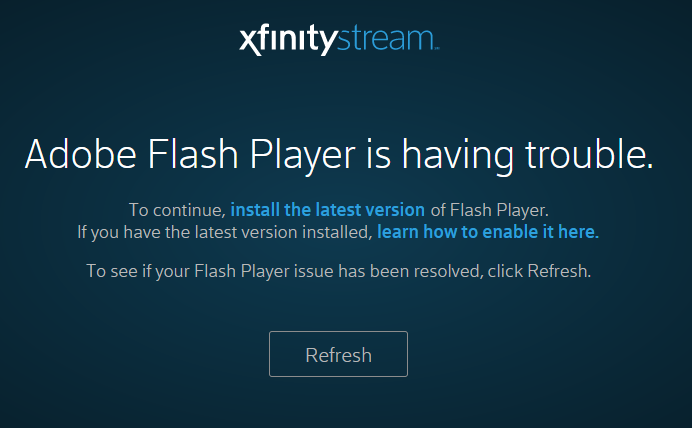 XFINITY on Campus fix for Flash on PC screenshot #1