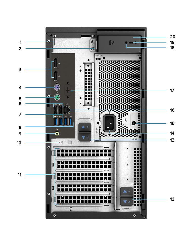 An image of the back of a Dell Precision 3640 minitower computer with numbers labeling ports