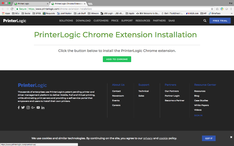 An image of the web page that will install the PrinterLogic extension to Google Chrome when