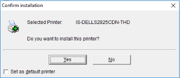 An image from the PrinterLogic client asking for confirmation that you want to install a particular printer with