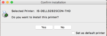 An image from the PrinterLogic client asking for printer installation confirmation with a