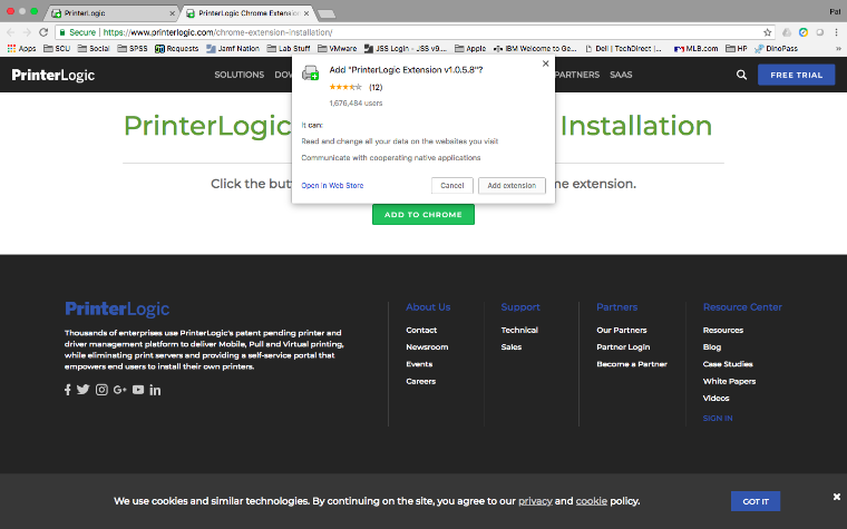 An image of the PrinterLogic webpage using Google Chrome with a prompt message from Chrome asking for confirmation to install the PrinterLogic extension.  There's a