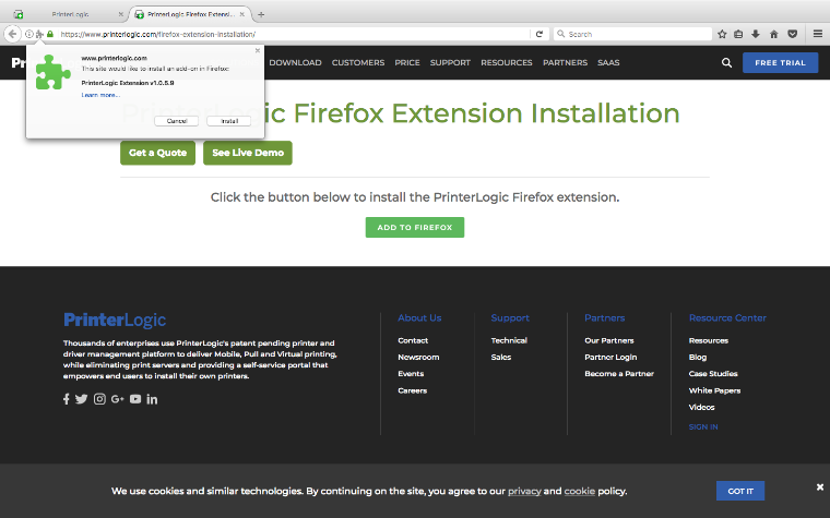 An image of the webpage used by PrinterLogic to prompt for the installation of the Firefox extension for PrinterLogic.