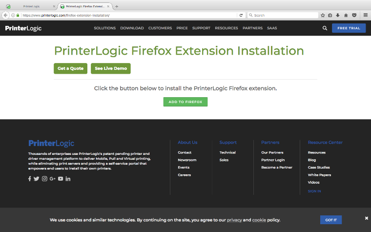 An image of the PrinterLogic web page prompting for the installation of the Firefox extension with a green button to