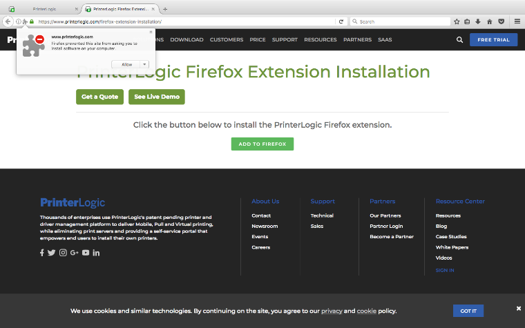 An image of the PrinterLogic website using Firefox with a prompt from Firefox saying