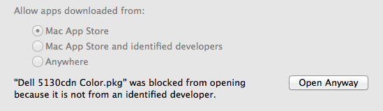 The security warning dialog box when installing the SmartPrint Pop-up client on Mac OS.  Click on 'Open anyway'.
