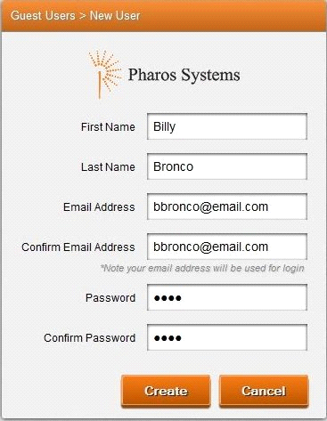 The SmartPrint Guest Printing Registration dialog box where you enter your information to register as a guest user.
