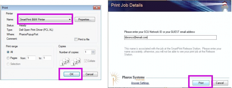 Two images.  On the left is the normal operating system dialog box where you select either the SmartPrint B&W Printer or the SmartPrint Color Printer.  The right image is the SmartPrint pop-up dialog box where you enter your guest email address used when you registered.
