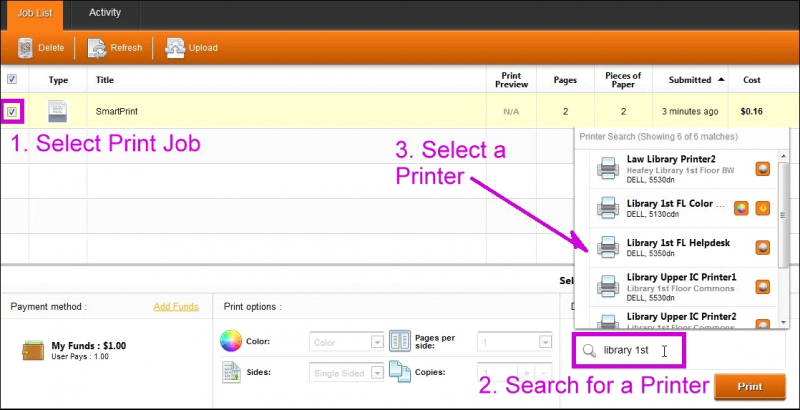When selecting a printer destination, a pop-up list will appear with a list of printer destinations where you can send your print job.  Select one of the destinations.