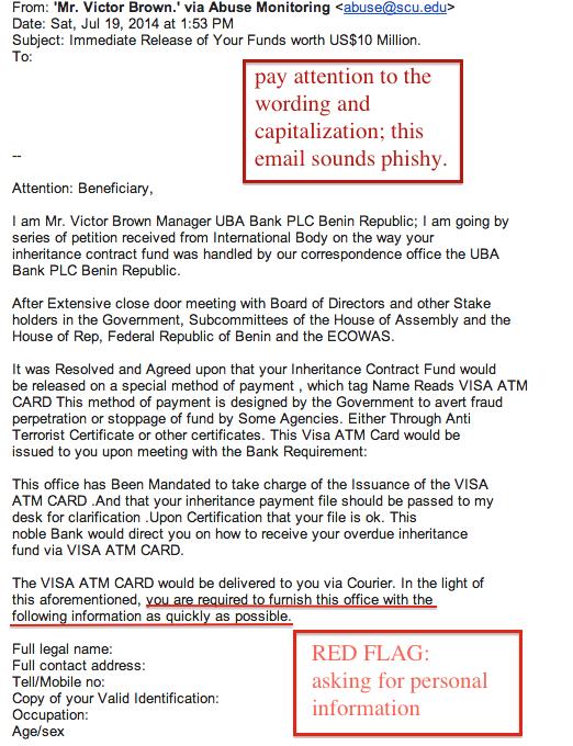 Phishing Examples - Information Security - Santa Clara