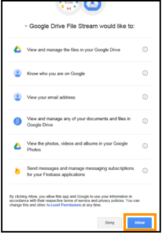 Google File Stream Allow Information Dialog Box
