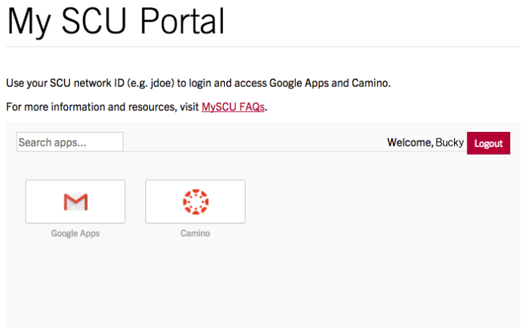 Logged in state of SCU portal from web browser