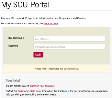 Screenshot of SCU Portal from webpage  in logged out state