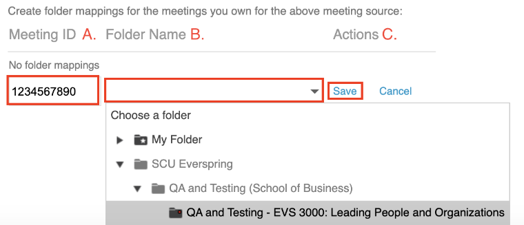 type in your meeting ID, select the Panopto folder, and save