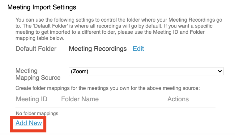 Navigate to meeting import settings and select