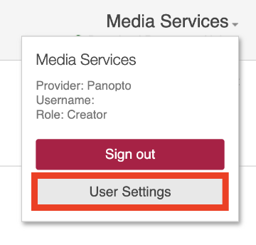 Find user settings in Panopto