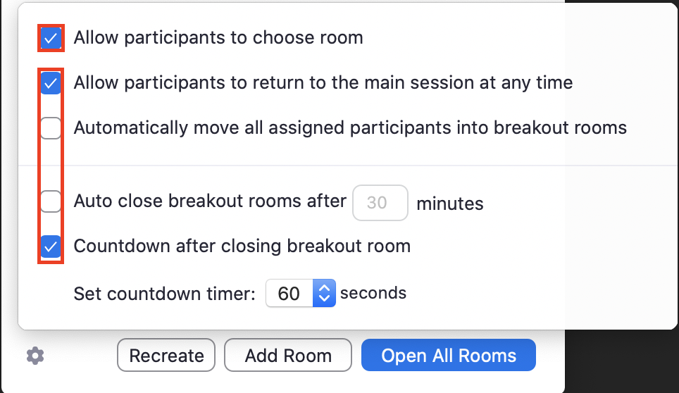 options for breakout rooms