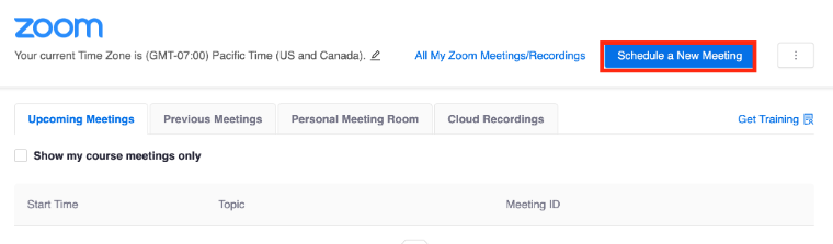 schedule a meeting in Zoom on Camino