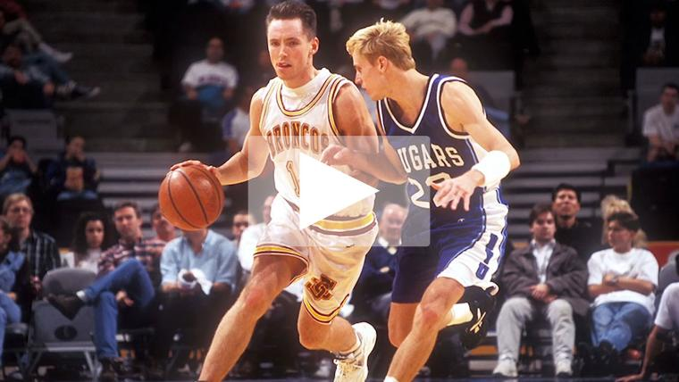 SCU alumnus Steve Nash playing basketball as a Bronco