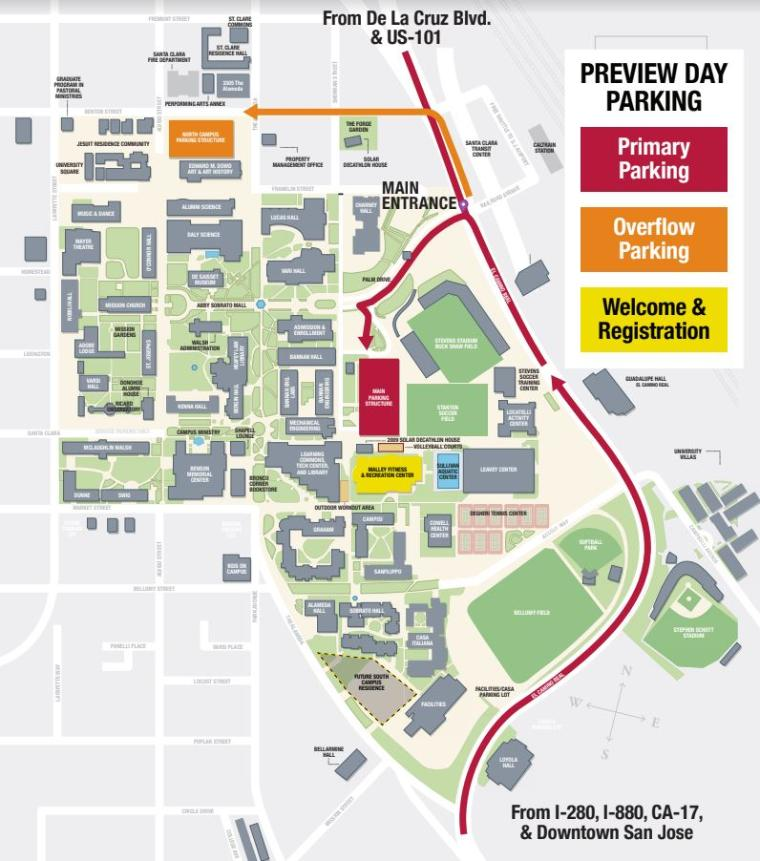 Preview Day Location and Parking Santa Clara University