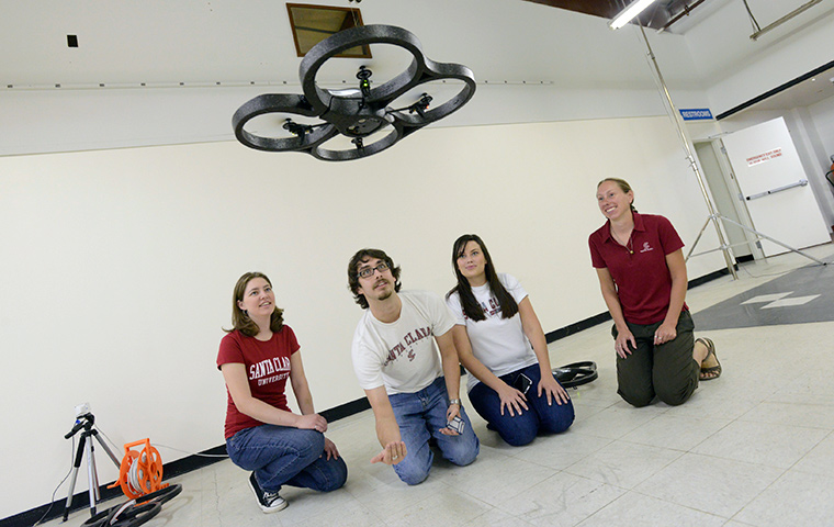 Students work with quadrotors
