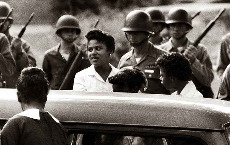 Minnijean Brown, 15 years old, and other members of the Little Rock Nine on the morning of Sept. 25, 1957