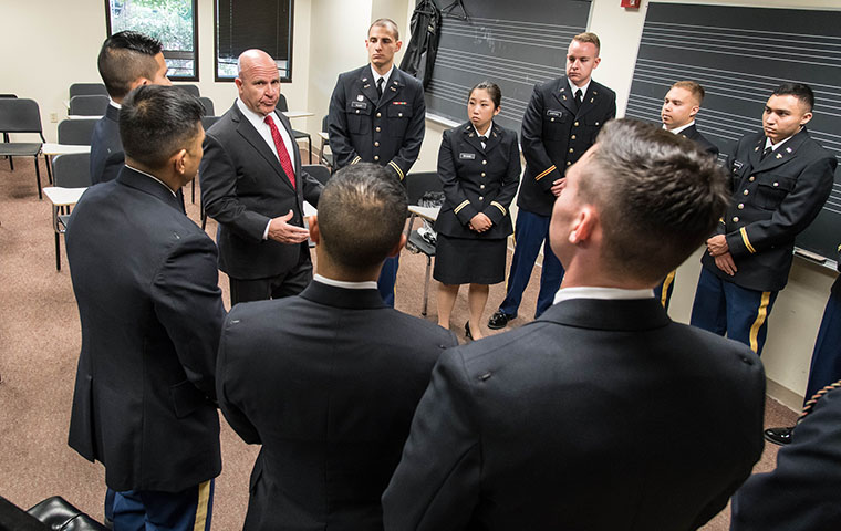 Retired U.S. Army General H.R. McMaster speaks with the 2019 commissioning class of Military Science cadets at Santa Clara University. Photo by Charles Barry.