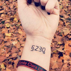 Photo of Section 230 tattoo on wrist of SCU Tech Edge Student Jess Miers