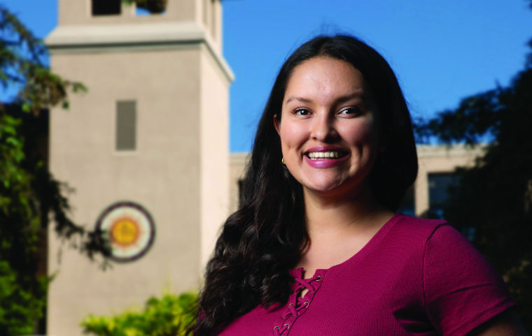 Areli Hernandez smiling just outside SCU's campus  image link to story
