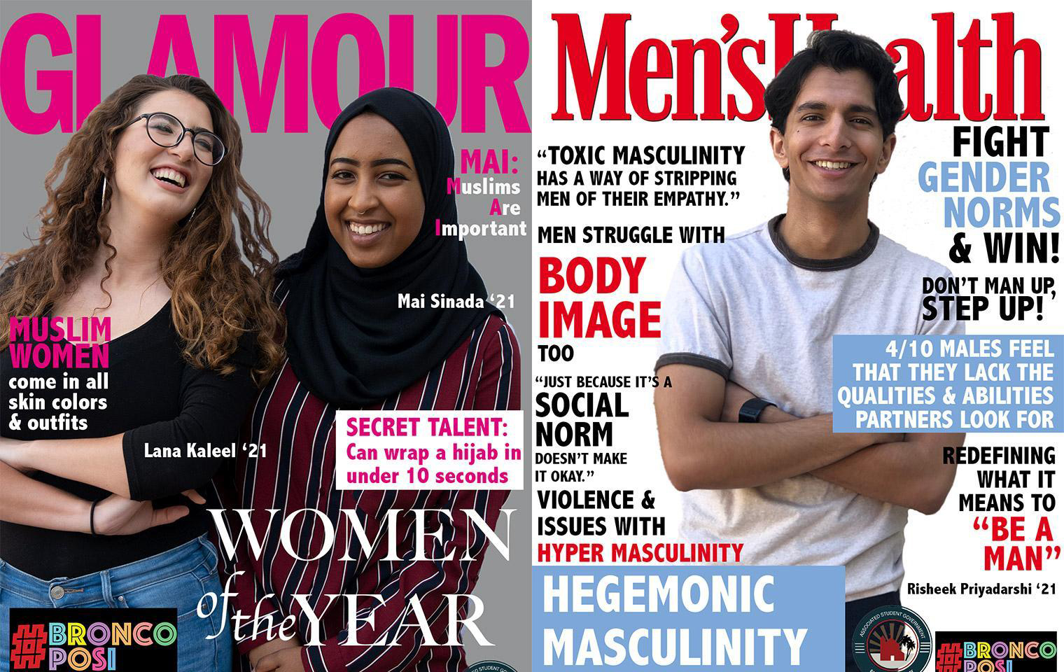 Three students photoshopped onto covers of Glamour and Men's Health image link to article
