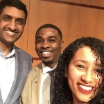 Student Helen Kassa with Rep. Ro Khanna and AACSA executive director Milan Balinton