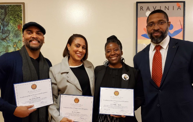 Anthony Hazard, Brett Solomon, Tanisha Sparks, Aldo Billingslea holding Congressional honor awards