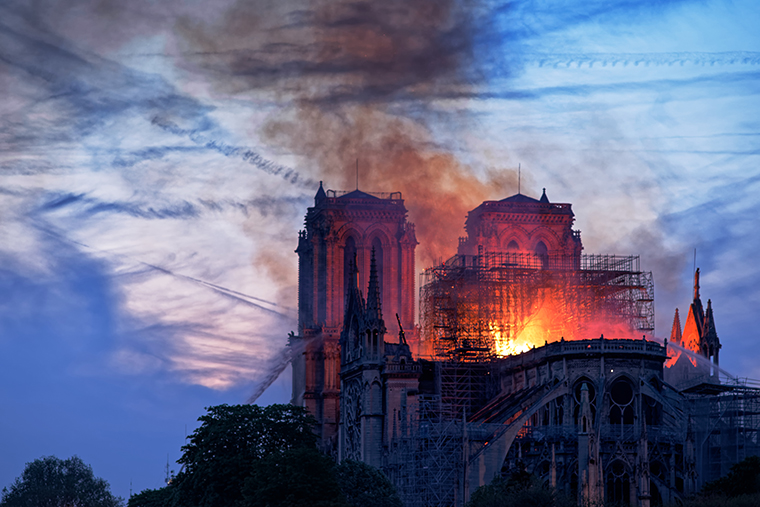 Notre Dame Cathedral in Paris engulfed by flames. Photo by Olivier Mabelly.