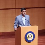 Rep. Ro Khanna at podium Feb. 21 Town Hall