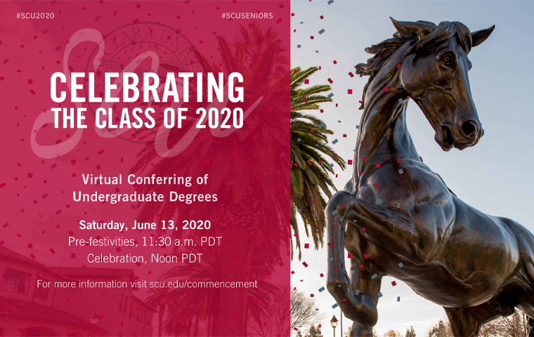 Bronco statue and text announcing Celebrating Class of 2020