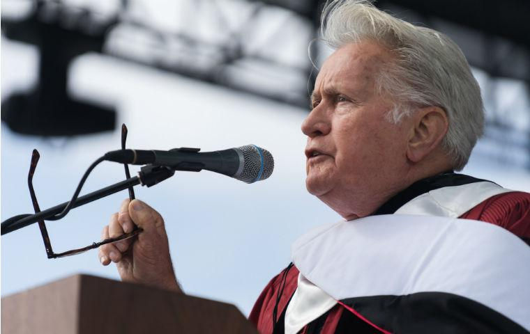 Martin Sheen speaking at 2019 commencement