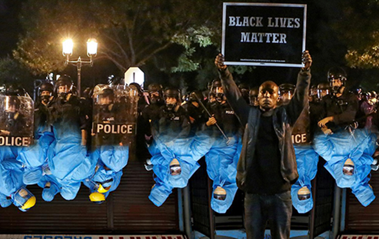 Graphic photo mixing Black Lives Matter and Doctors in blue garb