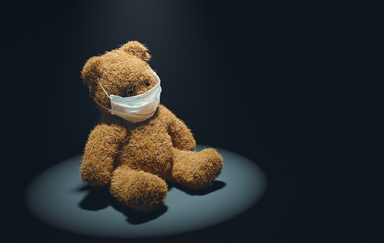 A teddy bear wears a medical mask