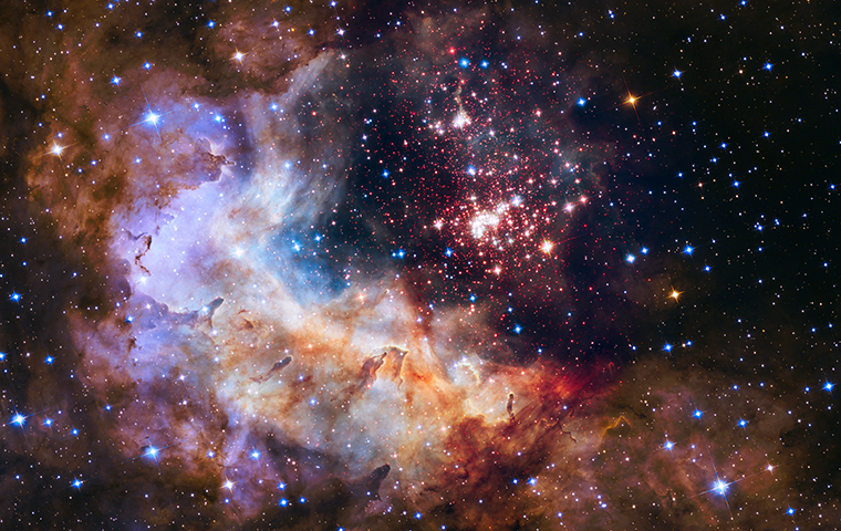 A giant cluster of about 3,000 stars called Westerlund 2 captured by the Hubble Space Telescope