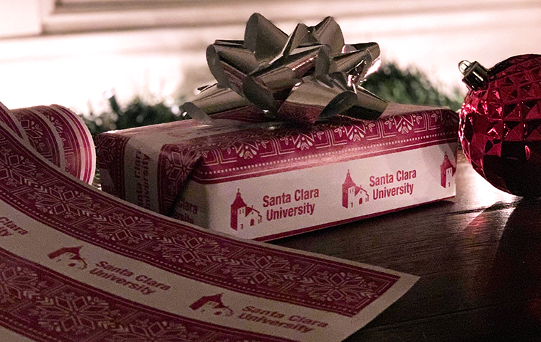 A box wrapped in Santa Clara paper