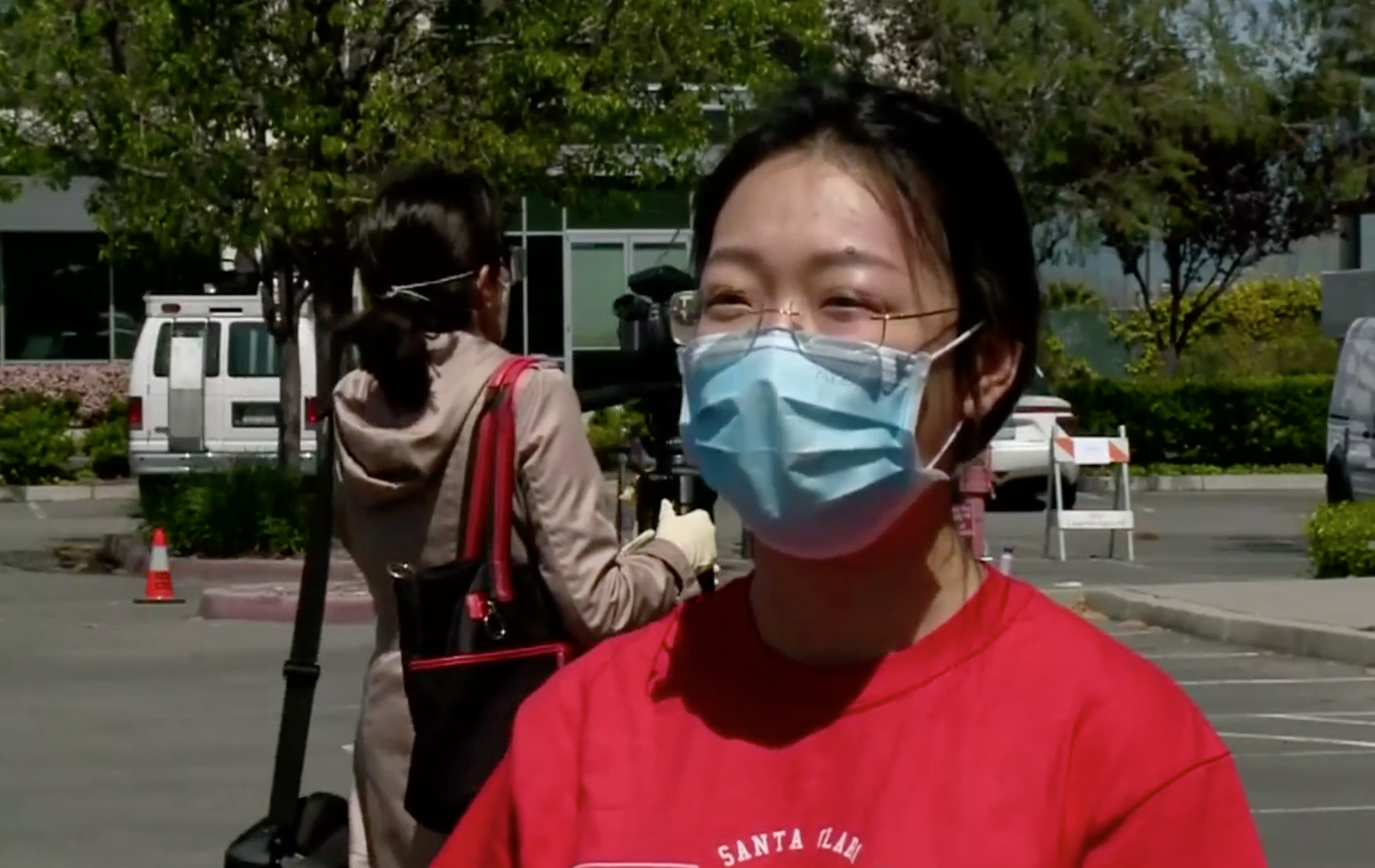 SCU student with mask on