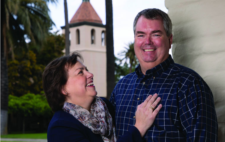 Ann '86 and Greg '86 MBA '93 Lindahl pictured at the edge of SCU's campus image link to story