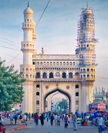 The Charminar, a monument built in 1591 A.D., is the most famous building of Hyderabad and one of the most famous in India.