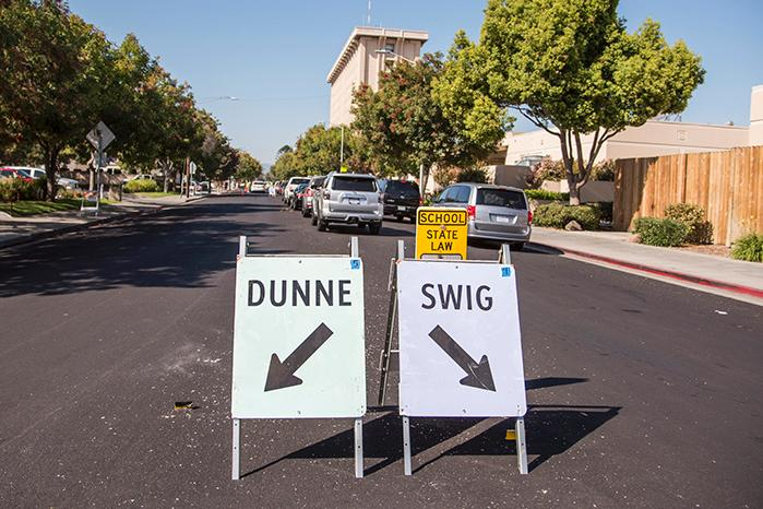 Photo of signs to Dunne and Swig halls at SCU.