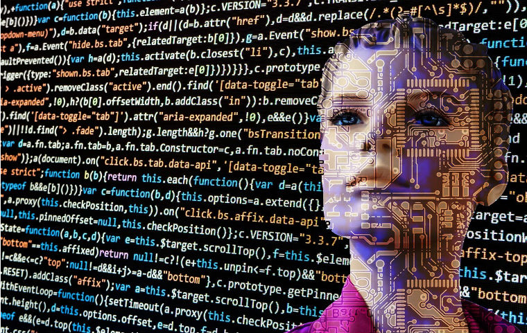 graphic of woman's face over digital coding image link to story