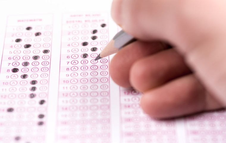 Stock image of test answer sheet