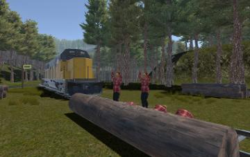 Video game depiction of train heading toward lumberjacks who are pinned to tracks.