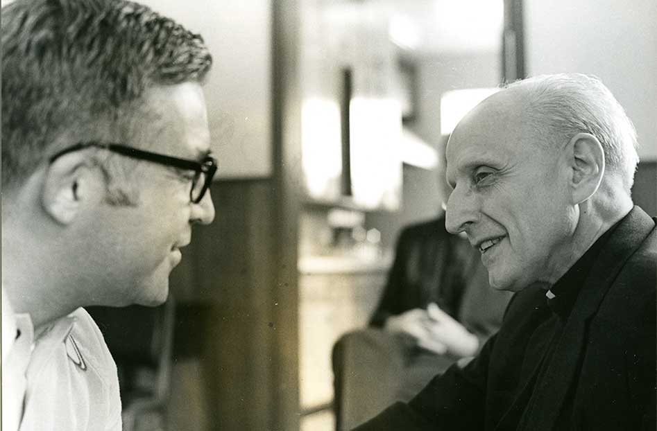 Rev. Francis G. Parker, S.J., with Very Rev. Pedro Arrupe, right, during his visit to the school in May, 1971.