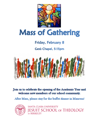 flyer with info on Mass of Gathering