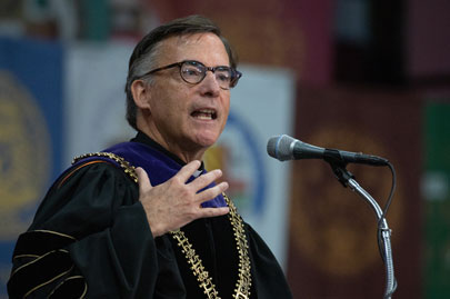 SCU President Kevin O'Brien speaks at his inauguration.